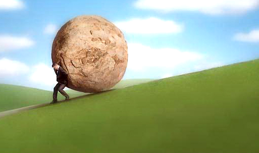 Businessman Rolling Boulder Up Hill